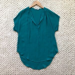 Lush Teal Short Sleeve deep V Blouse